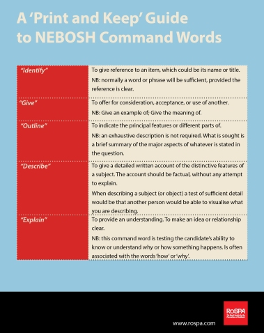 How To Pass NEBOSH Exams New Command Word Guide RoSPA Workplace