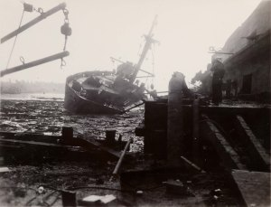 The SS High Flyer or SS Wilson B. Keene, three days after the explosion. Courtesy of Special Collections, University of Houston Libraries.