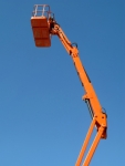 Tall cherry picker platform.